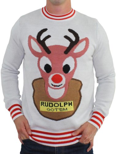 Ugly Christmas Sweater - Mounted Rudolph Sweater (White) By Tipsy Elves - Large