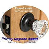A Perfect Replica of the 12 Point Depression Crystal PRIVACY DOOR KNOB set a the lowest price for self connecting Rosette. The very popular O'Ring hardware system with exposed screws only on one Rosettes backplate.