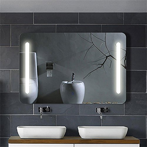 horizontal led lighted vanity bathroom silvered mirror  touch button mirror make up mirror wall