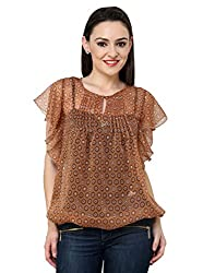 Vastrasutra Melted Chocolate Geometric Print Brown Georgette Casual Top for Women
