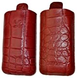 Suncase Original Leather Mobile Phone Case with Pull-Up Strap for Nokia 808 Pureview Croco-Brown
