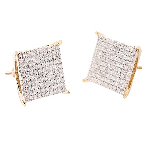 10K Yellow Gold, Diamond Square Head Micro Pave Set Largest Mens Earrings(0.56 Ctw, G-H, Si1)