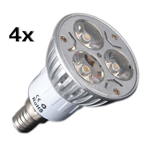Sodial(R) 4X E14 3W 3 Led Warm White Spotlight Energy Saving Spot Light Lamp Bulb 230V
