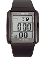 All Blacks - 680034 - Montre Homme - Quartz Digital - Cadran Noir - Bracelet Silicone Noir