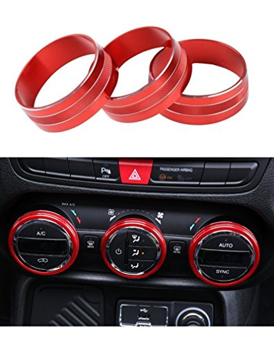 E-cowlboy Interior Audio Air Conditioning Button Cover Decoration Twist Switch Ring Trim for Jeep Wrangler JK JKU Compass Patriot 2011-2016 3PC/SET (Red) (2013 Jeep Dash Cover compare prices)