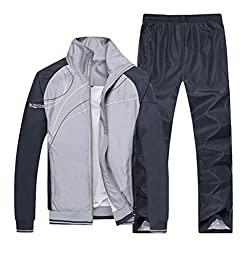 Mens Casual Zipper Long Sleeves Sports Running Athletic Tracksuit Grey XL