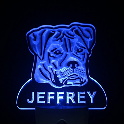 Ws1052-Tm American Bulldog Personalized Night Light Name Day/ Night Sensor Led Sign