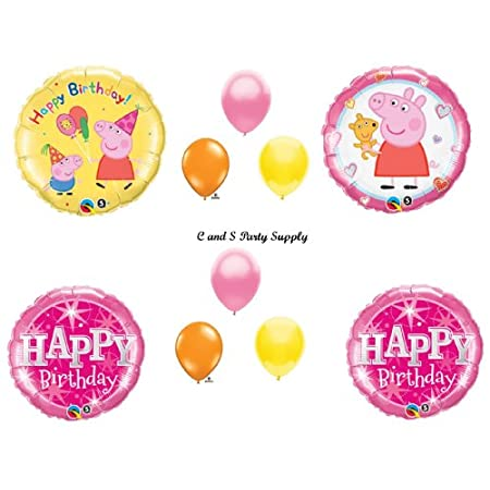"You will receive with this kit:One (1) 18"" Peppa Pig Happy Birthday round mylar balloon.One (1) 18"" Peppa Pig with Teddy Bear round mylar balloon.Two (2) 18"" Pink Sparkling Happy Birthday round mylar balloons.Six (6)  11"" Coordinating lat..."