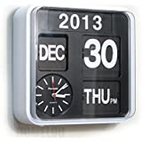"Fartech Retro Modern 9.5"" Calendar Auto Flip Desk Wall Clock (white)"