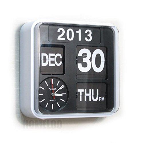 Fartech Retro Modern 9.5 Calendar Auto Flip Desk Wall Clock (white)