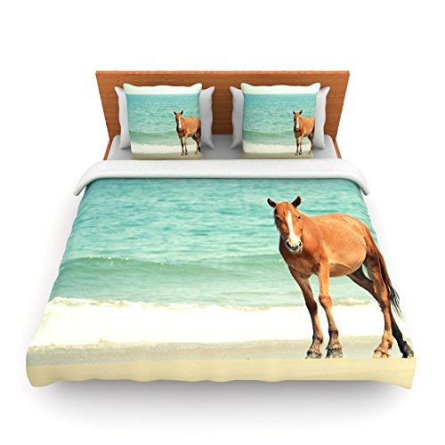 "Kess Inhouse Robin Dickinson ""Wild Mustang Of Carova"" Horse Ocean Queen Fleece Duvet Cover, 88 By 88-Inch front-947649"