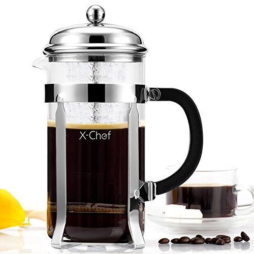 French Press, X-Chef 1000ml Heat Resistant Glass Coffee Press Tea Maker Pot with Stainless Steel Holder, Cozy & Funny for Coffee Lovers - 8 Cup/4 Mu
