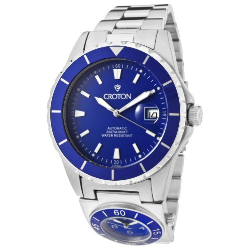 Mens Croton Steel Automatic Dual Time Date Watch CA301150SSBL