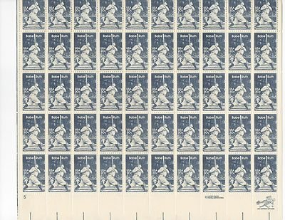 Babe Ruth Sheet of 50 x 20 Cent US Postage Stamps NEW Scot 2046