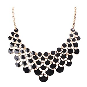 Jane Stone Best Selling Newest Fashion Necklace Magnetic Scaly Black Jewelery Vintage Openwork Bib Statement Fall Wedding Necklace(Fn0968-Black)