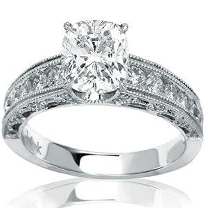 1.32 Carat Cushion Cut / Shape 14K White Gold Antique / Vintage Style Channel Set Round Diamond Engagement Ring ( G-H Color , SI3 Clarity ) - Size 3.5
