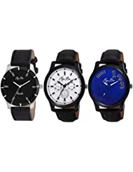 Pappi Boss Pack Of 3 Imported Sober Leather Analog Combo Deal Casual Wrist Watches For Men, Boys - B01LBOWO1G