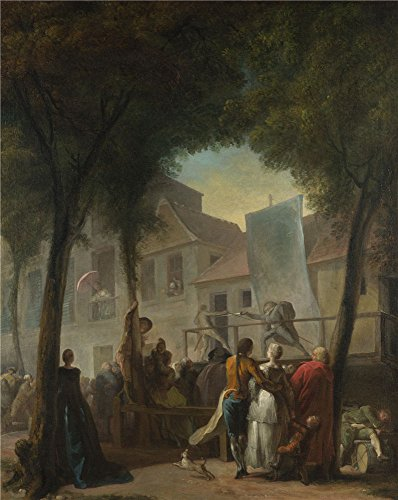 High Quality Polyster Canvas ,the Beautiful Art Decorative Canvas Prints Of Oil Painting 'Gabriel Jacques De Saint Aubin A Street Show In Paris ', 30 X 38 Inch / 76 X 96 Cm Is Best For Game Room Decoration And Home Artwork And Gifts