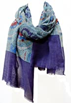 """Renaissance Rose"" Fine Lightweight Shawl Stole Wrap Scarf Blue Navy Red"