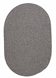 Solid Braided Wool Area Rug 5ft. x 8ft. Oval Gray Simple Soft Carpet
