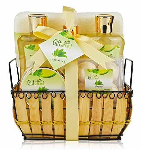 Spa Gift Basket with Rejuvenating Green Tea Fragrance - Perfect Holiday, Birthday or Anniversary Gift for Men and Women - Bath Gift Set Includes Bubble Bath, Bath Salts, Bath Bombs and More!