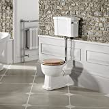 Traditional Low Level Close Coupled Toilet Bathroom Cistern Pan & Oak Seat