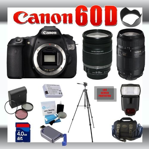 Canon EOS 60D 18 MP Digital DSLR Camera with Canon 18-200mm and Tamron AF 75-300mm f/4.0-5.6 LD for Canon Digital SLR Cameras + 4GB Memory Card + Digital Flash + SD Memory Card Reader + Li-Ion Replacement Battery Pack + Deluxe Cleaning Kit + Carrying Case