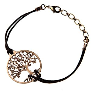 Small Tree of Life Peace Bronze Adjustable Bracelet