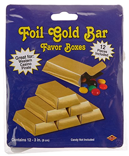 Buy Bargain Foil Gold Bar Favor Boxes Party Accessory (1 count) (12/Pkg)