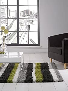 """Large Quality Shaggy Rug in Lime Green Grey Black Stripes 160 x 230 cm (5'3"""" x 7'7"""") Carpet from Lord of Rugs"""