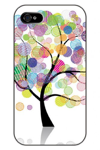 Sprawl Stylish Unique Design Colorful Round Ball Pattern Hard Plastic Snap On Iphone 4S Case Tree Of Love front-1072534
