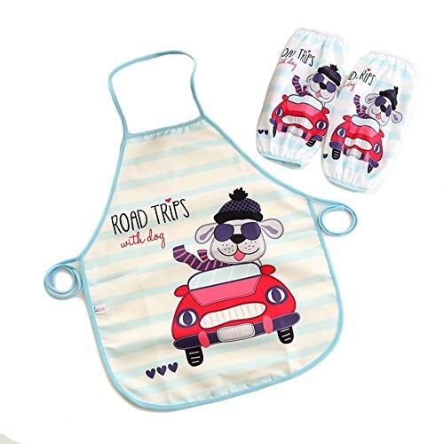 super dolce bambini grembiule Miya, impermeabile, con un paio di maniche quaderno, back grembiule, platino grembiule da barbecue grembiule da cucina pittura grembiule, immagine Shar Pei KS001