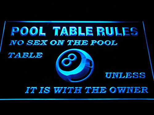 Adv Pro S234-B Pool Table Rules No Sex Unless With The Owner Eight 8 Ball Room Neon Sign