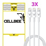 CellBee® USB Sync Data / Charging White 3 Ft Cable for iPhone 5 / 5C / 5S / 6 / 6 Plus (Latest IOS Supported) iPad Mini iPod Touch 5th Air Gen RETAIL PACKAGING (3 Pieces)
