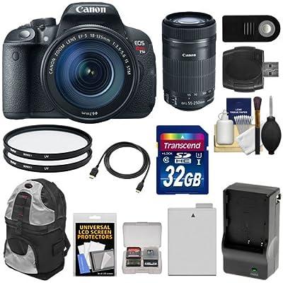 Canon EOS Rebel T5i Digital SLR Camera & EF-S 18-135mm with 55-250mm IS STM Lens + 32GB Card + Battery + Backpack + Filters + Kit