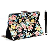 Apexel Fashion Flower PU Leather Case Cover with Card Slot and Touch Pen for 10.5 inch Samsung Galaxy Tab S - Black