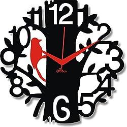 2 O Clock Red & Black Birdie Wall Decorative Clock