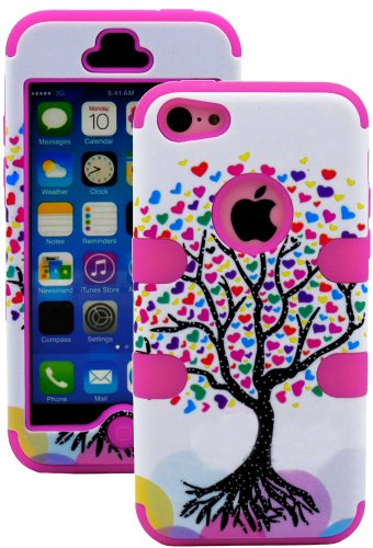 Mylife (Tm) Bubblegum Pink + Colorful Tree Of Hearts 3 Layer (Hybrid Flex Gel) Grip Case For New Apple Iphone 5C Touch Phone (External 2 Piece Full Body Defender Armor Rubberized Shell + Internal Gel Fit Silicone Flex Protector) front-352252