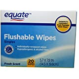 Equate Flushable Wipes, Singles, 20 Individually Wrapped Wipes, Fresh Scent, Compare to Cottonelle Fresh Flushable Moist Wipes