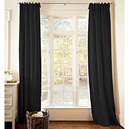Carousel Designs Solid Black Drape Panel 84-Inch Length Standard Lining 42-Inch Width