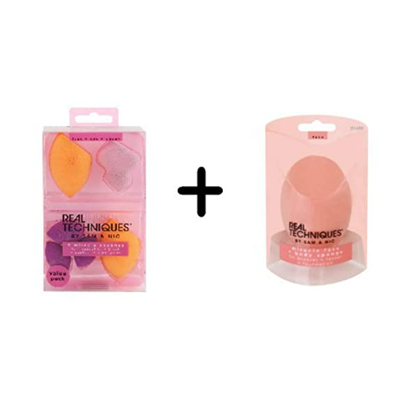 Real Techniques 6 Miracle Complexion Sponges + Miracle Complexion Body Sponge Value Set (Tamaño: Pack of 2)