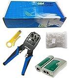 UbiGear Cable Tester +Crimp Crimper +100 RJ45 CAT5 CAT5e Connector Plug Network Tool Kits (Crimper315)