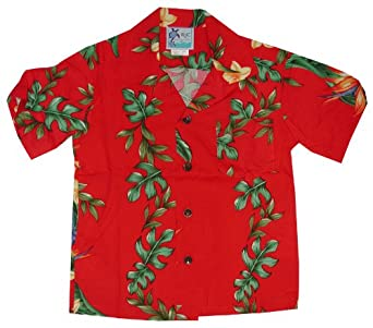 RJC Boys Island Bird of Paradise Panel Rayon Shirt Red 2