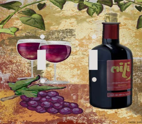 Red Wine and Grapes Decorative Double Switchplate Cover (Grape Light Switch Cover compare prices)