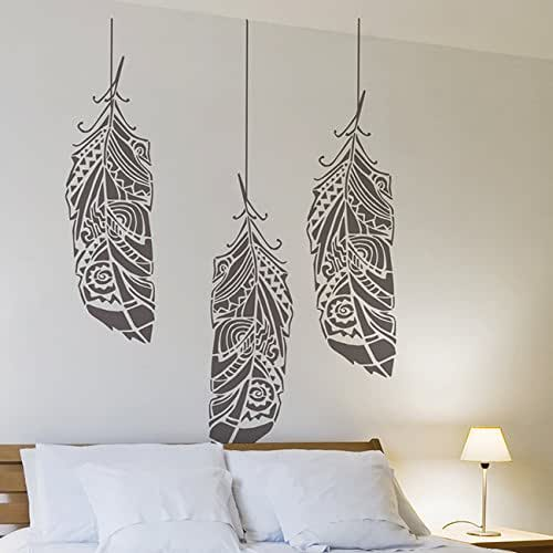 Bohemian Feather Wall Stencil Reusable Stencils For Home: Amazon.com: Feathers In The Wind Wall Stencil