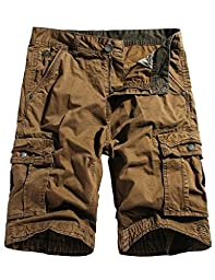WenVen Men\'s Active Cargo Shorts Cotton Outdoor Wear Lightweight (WV3229 Coffee,33)