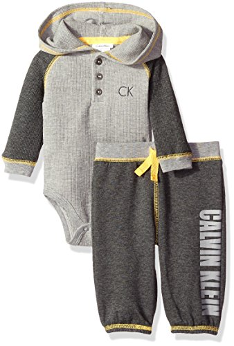 Calvin Klein Baby Boys' Hooded Bodysuit with Pants Set, Gray, 0-3 Months