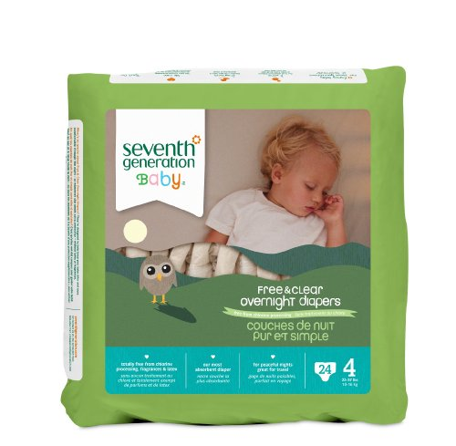 Seventh Generation Baby Free & Clear Overnight Diapers, Stage 4, 24 Count (Pack of 4) (7th Generation Stage 4 Diapers compare prices)