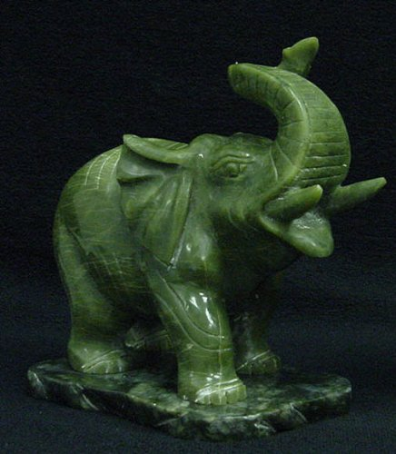 Trunk up Elephant Green Jade Carving Statue Sculpture Decor