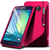 Spyrox ( Hot Pink ) Samsung Galaxy A3 Case Stylish Fitted S Line Wave Gel Case Skin Cover With LCD Screen Protector Guard, Polishing Cloth & Mini Retractable Stylus Pen